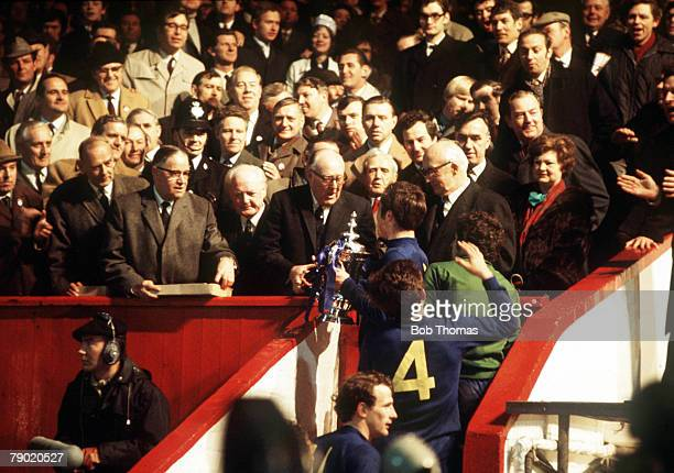 Football 1970 FA Cup Final Replay Old Trafford 29th April Chelsea 2 v Leeds United 1 Chelsea captain Ron Harris collects the trophy after the match