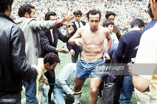 Football 1970 World Cup Final Mexico City Mexico 21st June Brazil 4 v Italy 1 Brazil's Tostao is stripped and mobbed by jubilant fans as Brazil...