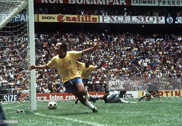Football 1970 World Cup Final Mexico City Mexico 21st June Brazil 4 v Italy 1 Brazil's Tostao and Pele celebrate the fourth goal scored by captain...
