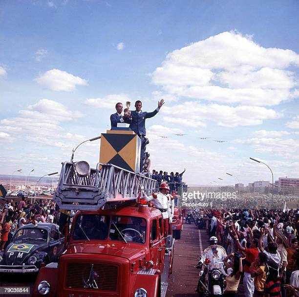 Football 1970 World Cup Finals Mexico The victorious Brazilian team parade the Jules Rimet trophy to jubilant fans on their return home to capital...