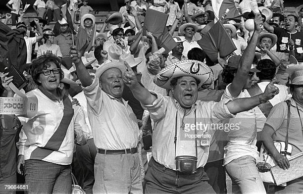 Football 1970 World Cup Leon Mexico 2nd June 1970 Peru 3 v Bulgaria 2 Peruvian fans show their delight after their team defeated Bulgaria in their...