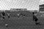 Football 1970 World Cup Leon Mexico 2nd June 1970 Peru 3 v Bulgaria 2 Perus Chumpitaz leaps in celebration after scoring the second goal against...