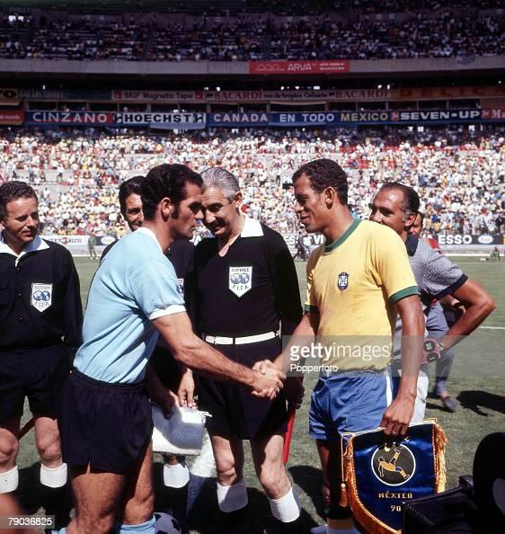 Football 1970 World Cup Semi Final Guadalajara Mexico 17th June Brazil 3 v Uruguay 1 Brazilian captain Carlos Alberto shakes hands with Uruguayan...