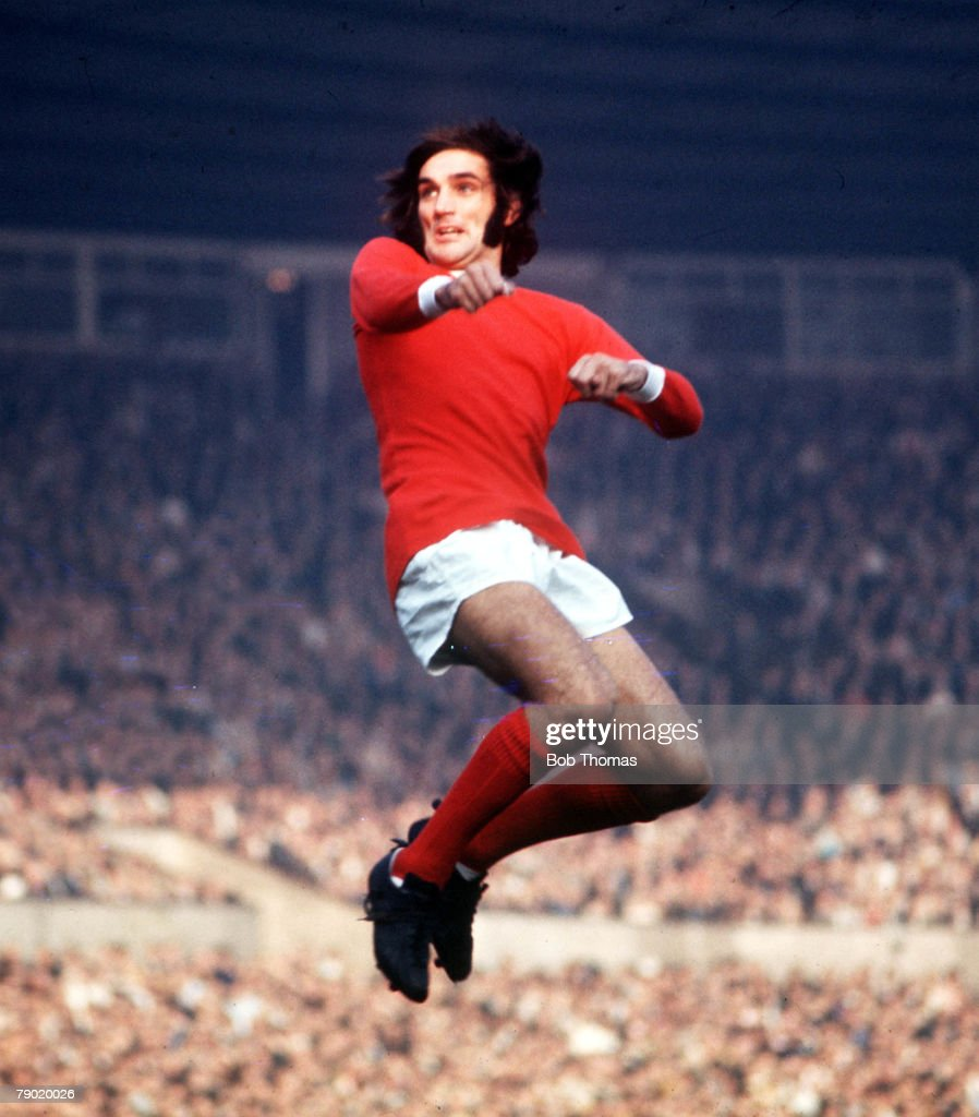 Football 1970 s Manchester United s George Best jumps up for the