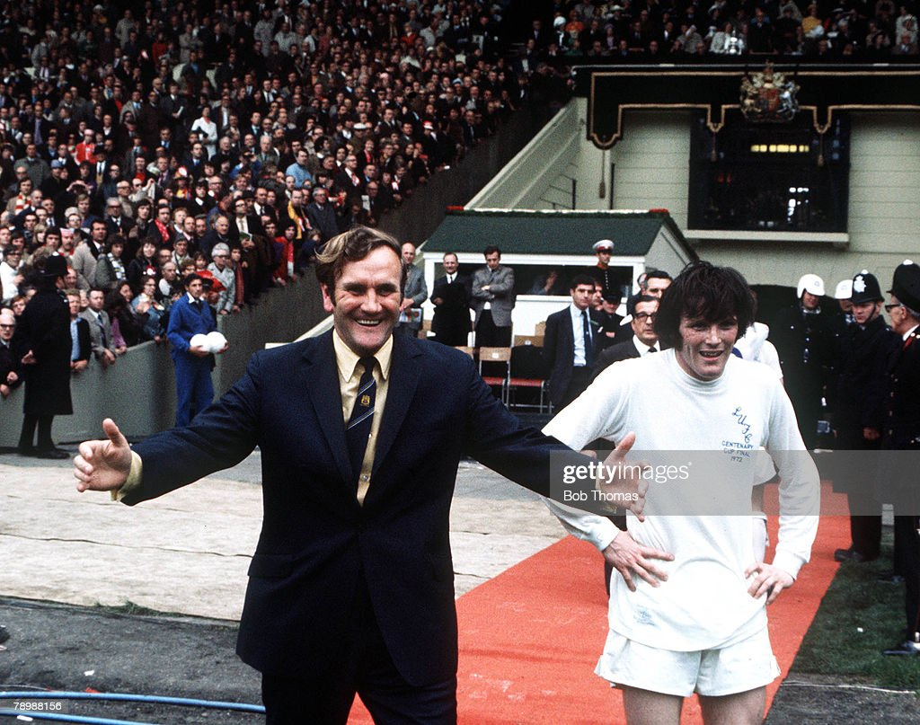 Football, 1972 FA Cup Final, Wembley Stadium, 6th May, 1972, Leeds United 1 v Arsenal 0, Leeds United manager Don Revie ready to congratulate his team as they win the FA Cup with Eddie Gray