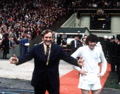 Football 1972 FA Cup Final Wembley Stadium 6th May Leeds United 1 v Arsenal 0 Leeds United manager Don Revie ready to congratulate his team as they...