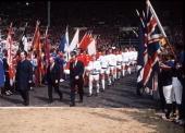 Football 1972 FA Cup Final Wembley Stadium 6th May Leeds United 1 v Arsenal 0 The two teams enter the pitch before the kick off led out by their...