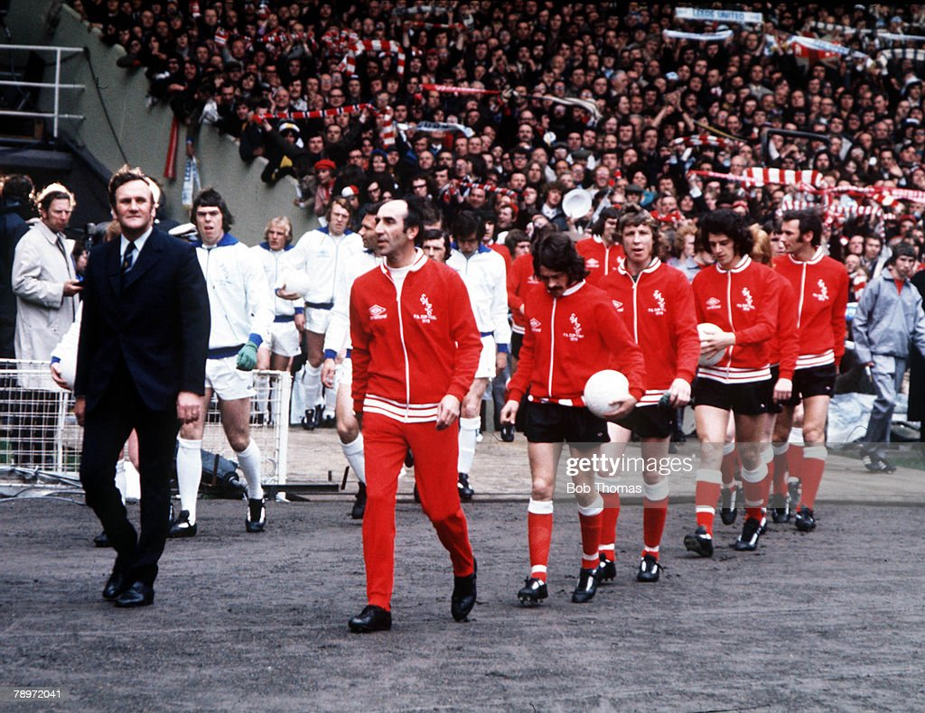 Football, 1973 FA Cup Final, Wembley Stadium, 5th May, 1973, Sunderland 1 v Leeds United 0, Leeds manager Don Revie (right) and Sunderland manager Bob Stokoe lead their teams out before the match