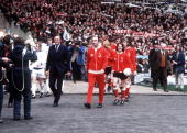 Football 1973 FA Cup Final Wembley Stadium 5th May Sunderland 1 v Leeds United 0 Manager Bob Stokoe leads out his Sunderland team onto the Wembley...
