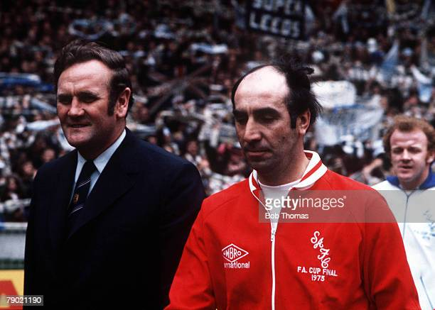 Football 1973 FA Cup Final Wembley Stadium 5th May Sunderland 1 v Leeds United 0 Leeds manager Don Revie and Sunderland manager Bob Stokoe lead their...