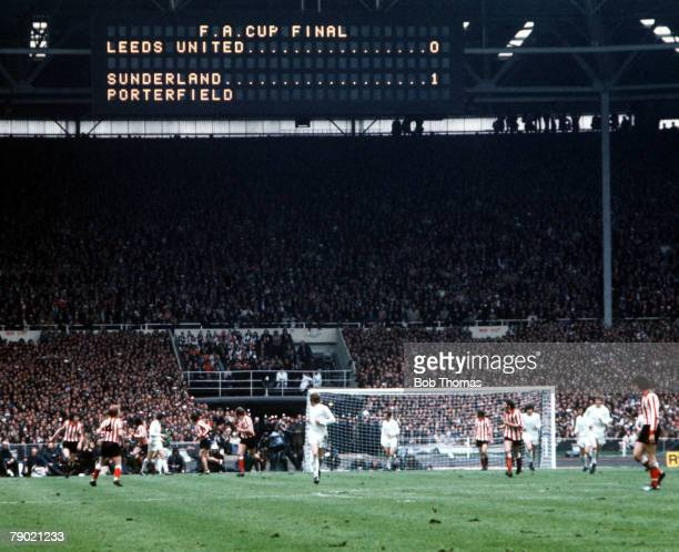 Football 1973 FA Cup Final Wembley Stadium 5th May Sunderland 1 v Leeds United 0 The electronic scoreboard shows the shock scoreline during the match