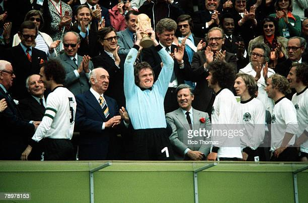 Football 1974 World Cup Final Olympic Stadium Munich Germany 7th July 1974 West Germany 2 v Holland 1 Sepp Maier West Germany's keeper holds aloft...