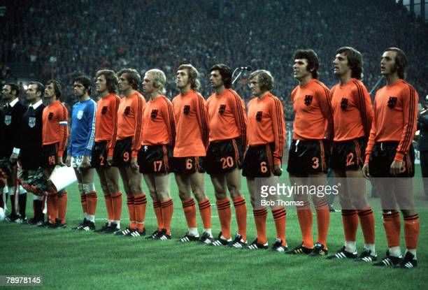 Football 1974 World Cup Finals Holland team group lr Cruyff Jongbloed Haan Keizer Rijsbergen Rep Suurbier Jansen Hanegem Krol Neeskens