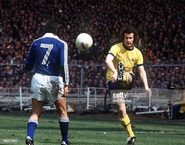 Football 1978 FA Cup Final Wembley Ipswich Town 1 v Arsenal 0 6th May Arsenal's Liam Brady plays the ball past Ipswich Towns Roger Osborne