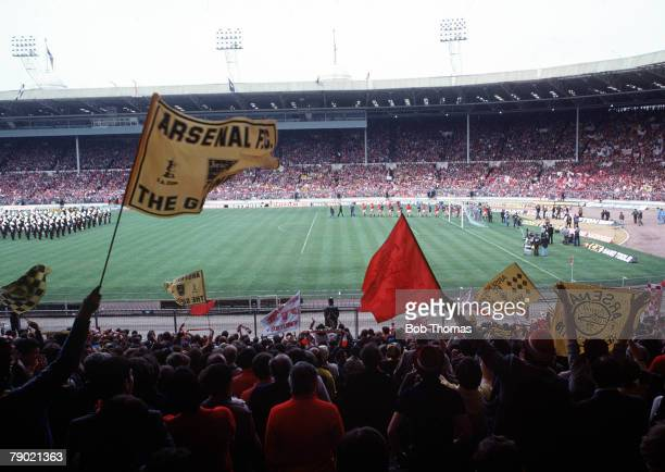 Football 1979 FA Cup Final Wembley Arsenal 3 v Manchester United 2 12th May Crowds watching players coming out onto the the pitch before the start of...
