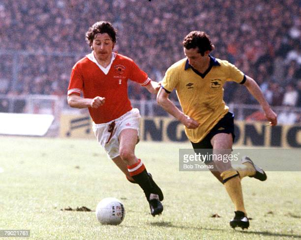 Football 1979 FA Cup Final Wembley Arsenal 3 v Manchester United 2 12th May Arsenals Liam Brady moves past Uniteds Mickey Thomas with the ball