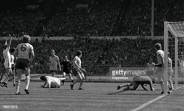 Football 1980 FA Cup Final Wembley 10th May West Ham United 1 v Arsenal 0 West Ham's Trevor Brooking on the ground after scoring his side's winning...
