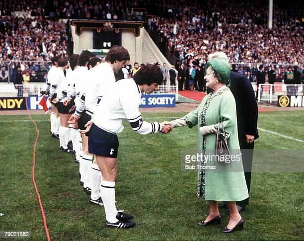Football 1981 FA Cup Final Wembley 9th May Tottenham Hotspur 1 v Manchester City 1 HRH The Queen Mother meets Tottenham Hotspurs captain Steve...