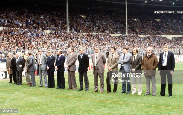Football 1981 FA Cup Final Wembley 9th May Tottenham Hotspur 1 v Manchester City 1 Former FA Cup winning captains line up on the pitch before the...