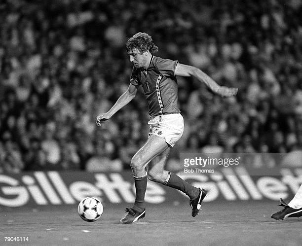 Football 1982 World Cup Finals Barcelona Spain 13th June 1982 Argentina 0 v Belgium 1 Belgium's Jan Ceulemans on the ball during their Group C match