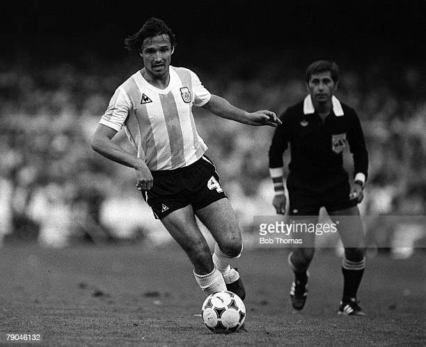Football 1982 World Cup Finals Barcelona Spain 13th June 1982 Argentina 0 v Belgium 1 Argentina's Daniel Bertoni on the ball during their Group C...