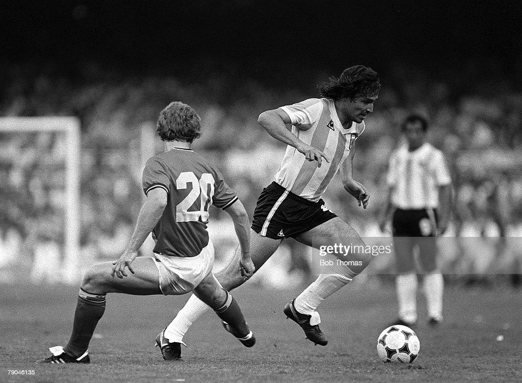 Football 1982 World Cup Finals Barcelona Spain 13th June 1982 Argentina 0 v Belgium 1 Argentina's Daniel Bertoni takes the ball past Belgium's Guy...