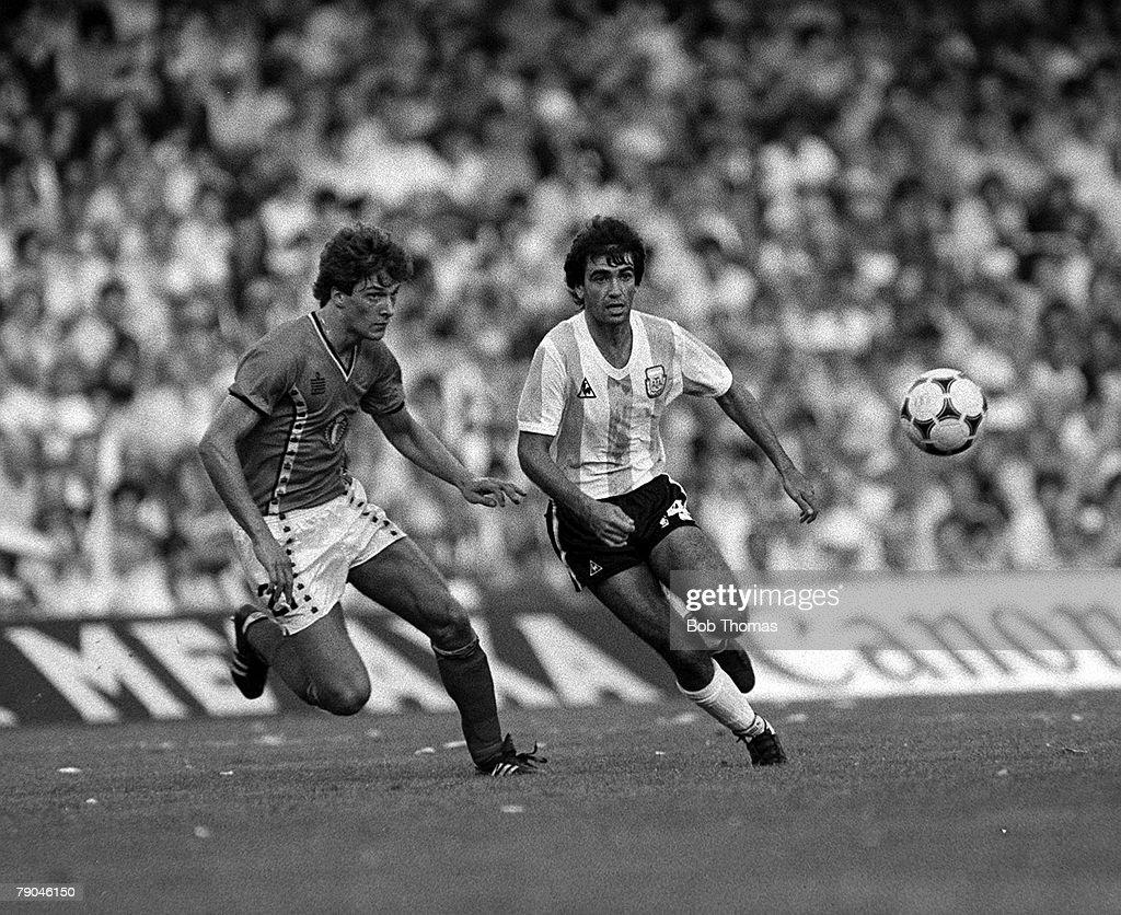 Football 1982 World Cup Finals Barcelona Spain 13th June 1982 Argentina 0 v Belgium 1 Argentina's jorge Olgun plays the ball past Belgium's Alex...
