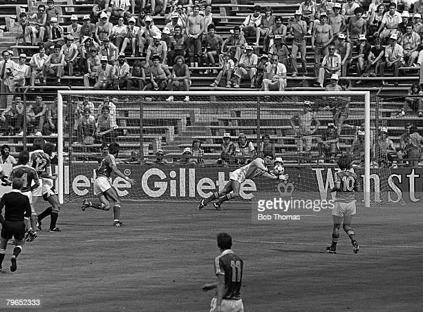 Football 1982 World Cup Finals Madrid Spain 1st July 1982 Austria 2 v Northern Ireland 2 Northern Ireland's goalkeeper Jim Platt dives across his...