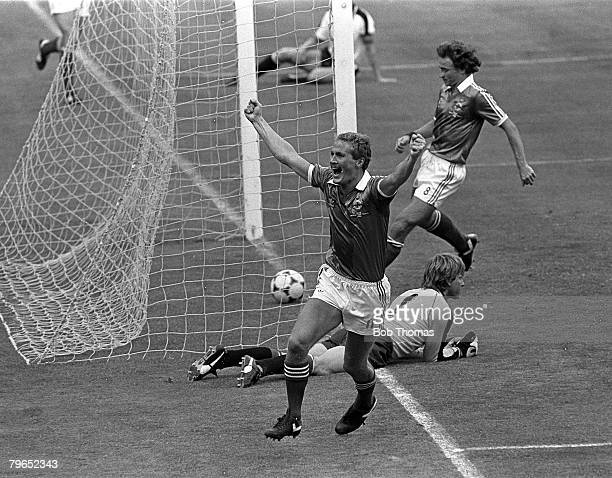 Football 1982 World Cup Finals Madrid Spain 1st July 1982 Austria 2 v Northern Ireland 2 Northern Ireland's Billy Hamilton celebrates after scoring...