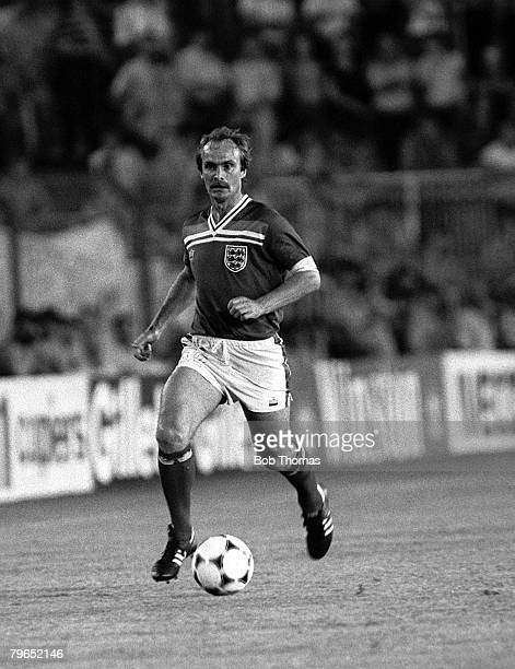 Football 1982 World Cup Finals Second Phase Group B Madrid Spain 29th June 1982 England 0 v West Germany 0 England's Mick Mills on the ball