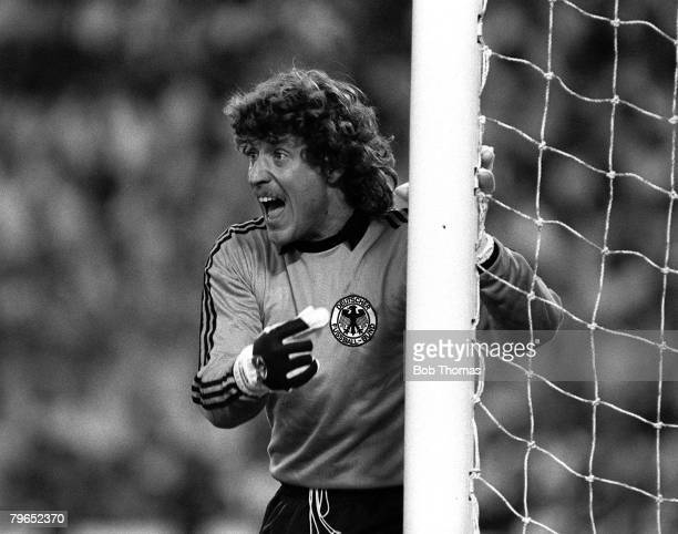 Football 1982 World Cup Finals Second Phase Group B Madrid Spain 2nd July 1982 West Germany 2 v Spain 1 West Germany's goalkeeper Harald Schumacher...