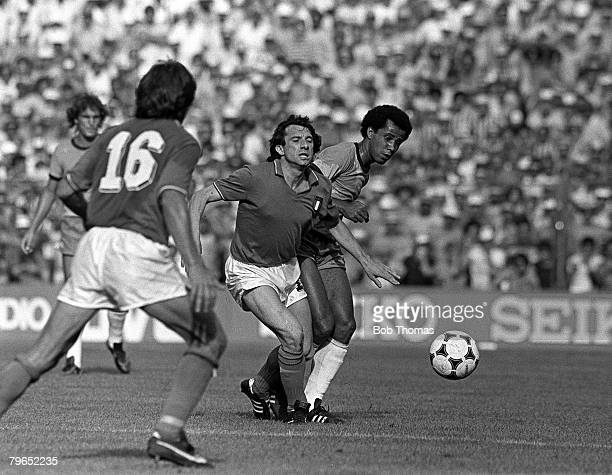Football 1982 World Cup Finals Second Phase Group C Barcelona Spain 5th July 1982 Italy 3 v Brazil 2 Italy's Gianpiero Marini is challenged for the...