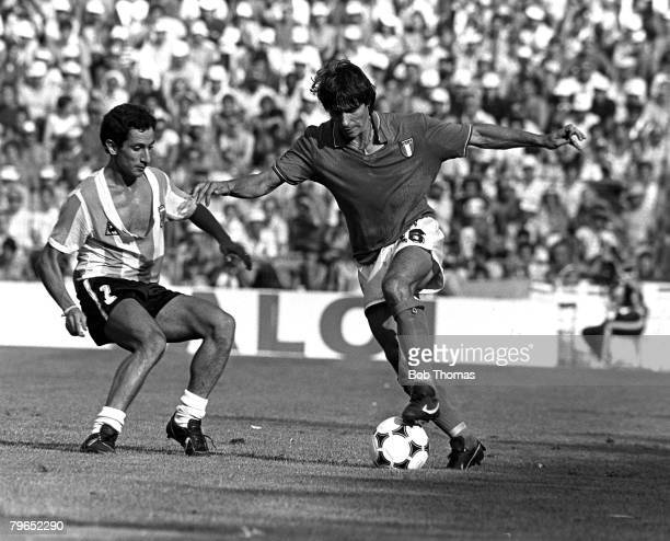 Football 1982 World Cup Finals Second Phase Group C Barcelona Spain 29th June 1982 Italy 2 v Argentina 1 Italy's Bruno Conti on the ball watched by...