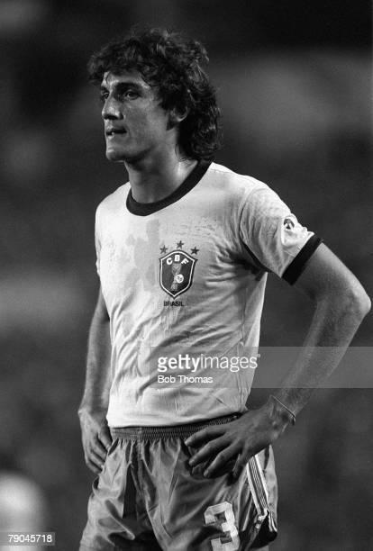 Football 1982 World Cup Finals Seville Spain 23rd June 1982 Brazil 4 v New Zealand 0 Brazil's Oscar during their Group F match