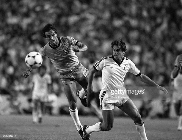 Football 1982 World Cup Finals Seville Spain 23rd June 1982 Brazil 4 v New Zealand 0 Brazil's Leandro beats New Zealand's Wynton Rufer to the ball...