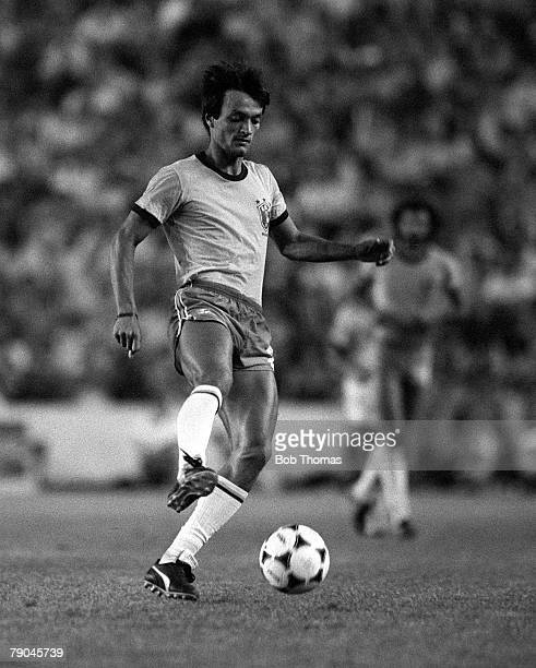 Football 1982 World Cup Finals Seville Spain 23rd June 1982 Brazil 4 v New Zealand 0 Brazil's Leandro on the ball during their Group F match