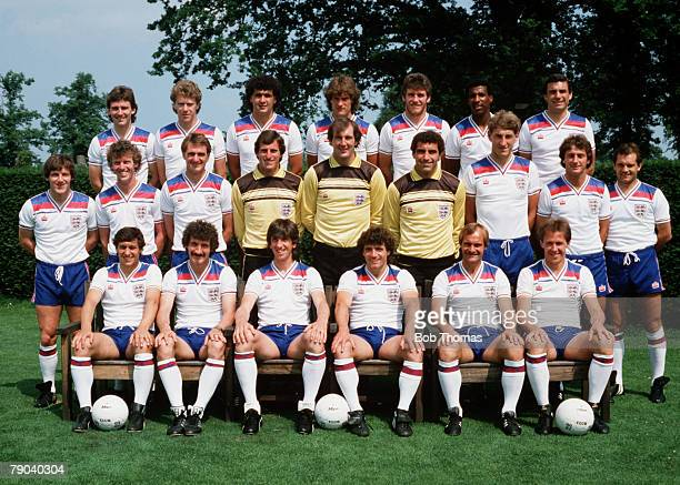 Football 1982 World Cup Finals Spain The England squad Back row LR Bryan Robson Tony Woodcock Steve Foster Glenn Hoddle Peter Withe Viv Anderson and...