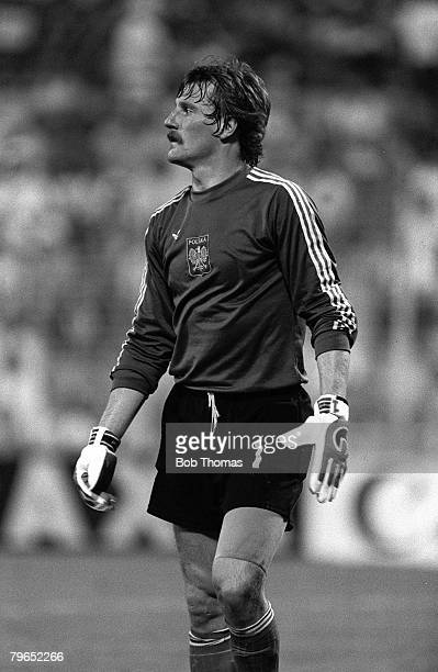 Football 1982 World Cup Third Place PlayOff Alicante Spain 10th July 1982 Poland 3 v France 2 Poland's goalkeeper Jozef Mlynarczyk