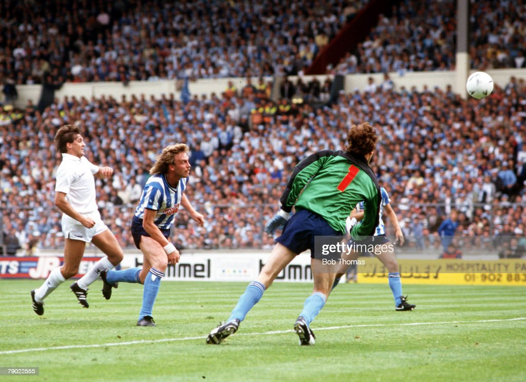 Football 1987 FA Cup Final Wembley 16th May Coventry City 3 v Tottenham Hotspur 2 Tottenham's Gary Mabbutt scores his side's second goal past...