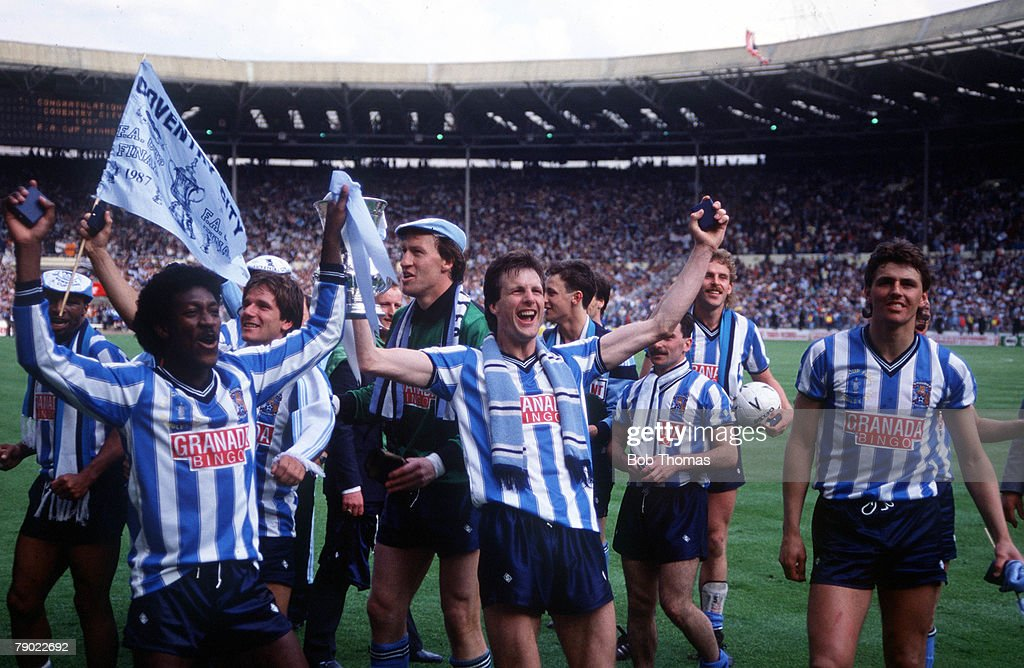 Football 1987 FA Cup Final Wembley 16th May Coventry City 3 v Tottenham Hotspur 2 Coventry players celebrate after their FA Cup win