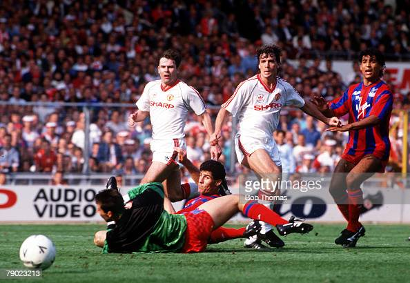 Football 1990 FA Cup Final Wembley 12th May Manchester United 3 v Crystal Palace 3 Crystal Palace goalkeeper Nigel Martyn is beaten by Mark Hughes...