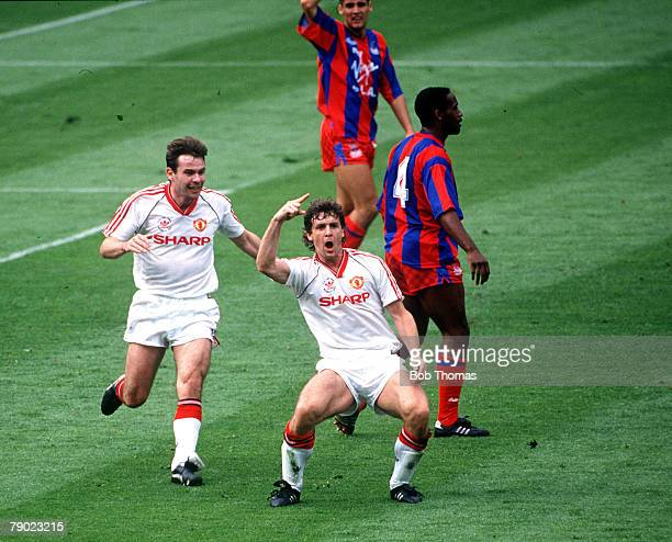 Football 1990 FA Cup Final Wembley 12th May Manchester United 3 v Crystal Palace 3 Manchester United's Mark Hughes celebrates after scoring his first...