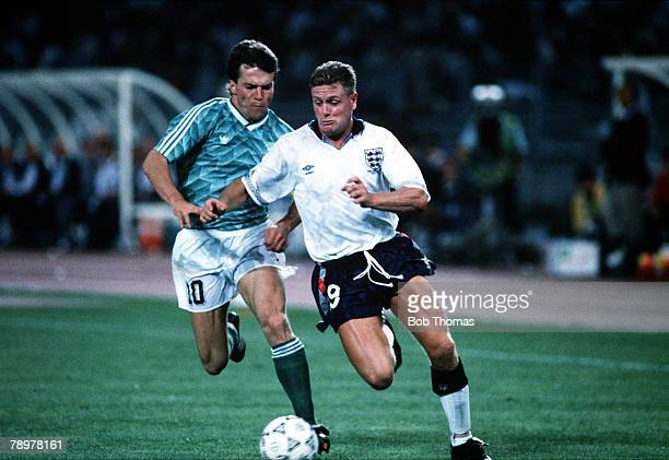 Football 1990 World Cup Semi Final Turin Italy 4th July 1990 West Germany 1 v England 1 England's Paul Gascoigne chased by West Germany's Lothar...