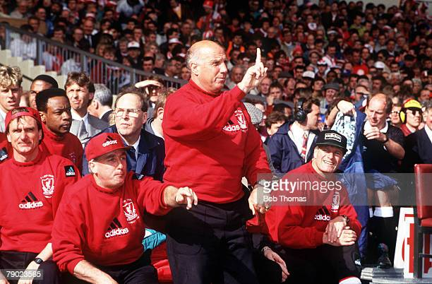 Football 1992 FA Cup Final Wembley 9th May Liverpool 2 v Sunderland 0 The Liverpool bench LR coaching staff Phil Thompson Roy Evans and Ronnie Moran...
