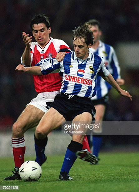 Football 1993 FA Cup Final Replay Wembley 20th May Arsenal 2 v Sheffield Wednesday 1 Arsenal's Alan Smith fouls Wednesday's Graham Hyde to earn his...