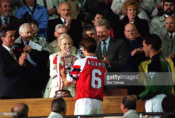 Football 1993 FA Cup Final Replay Wembley 20th May Arsenal 2 v Sheffield Wednesday 1 Arsenal's captain Tony Adams recives the trophy from HRH The...