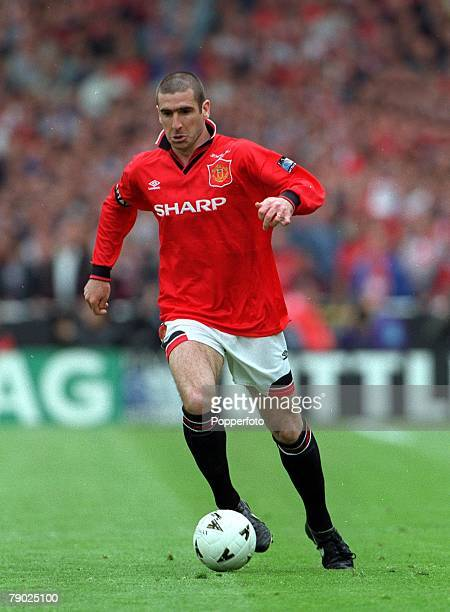 Football 1996 FA Cup Final Wembley 11th May Manchester United 1 v Liverpool 0 Manchester United captain Eric Cantona shoots to score the game's only...