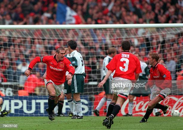 Football 1996 FA Cup Final Wembley 11th May Manchester United 1 v Liverpool 0 Manchester United captain Eric Cantona races away to celebrate after...