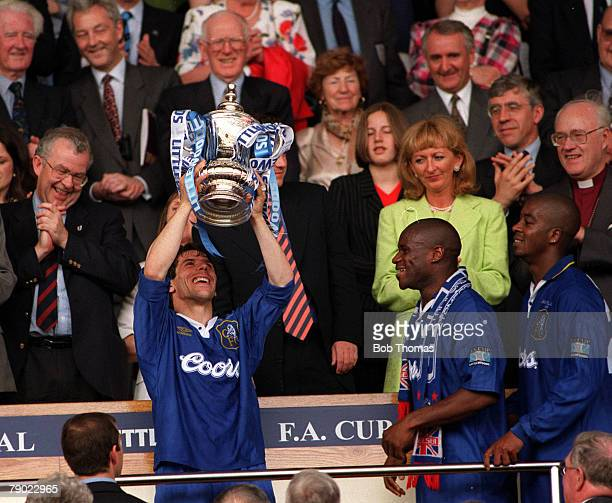 Football 1997 FA Cup Final Wembley 17th May Chelsea 2 v Middlesbrough 0 Chelsea's Gianfranco Zola proudly holds aloft the trophy after the...