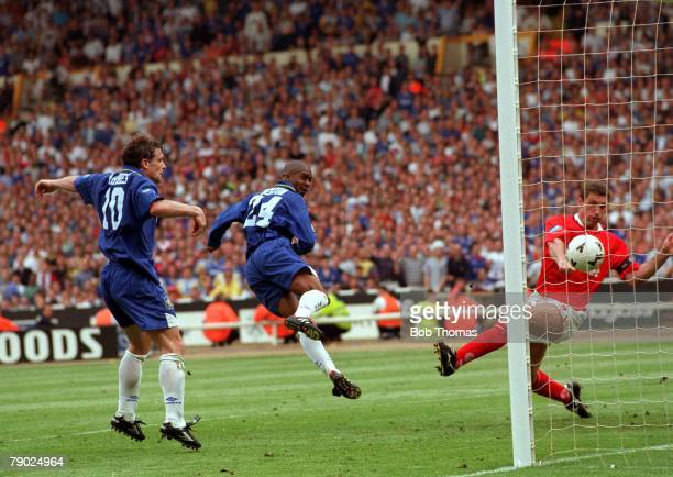 Football 1997 FA Cup Final Wembley 17th May Chelsea 2 v Middlesbrough 0 Chelsea's Eddie Newton heads the ball past the challenge of Middlesbrough's...